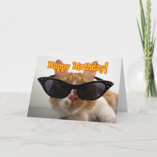 Gelukkige Verjaardag Kat Die Zonnebril Dragen Kaart Zazzle Nl