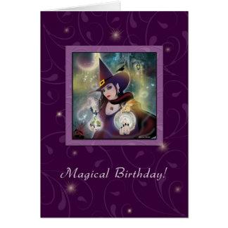 Gelukkige Verjaardag - Paarse Magisch van de Heks Kaart