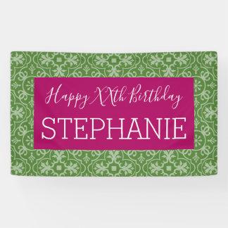 Gelukkige Verjaardag - Roze Gevormd Groen Spandoek