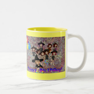 Gelukkige Verjaardag Tweekleurige Koffiemok
