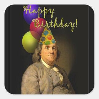Gelukkige Verjaardag van Ben Franklin Vierkante Sticker