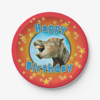 Gelukkige Verjaardag van het het lachen paard Papieren Bordje