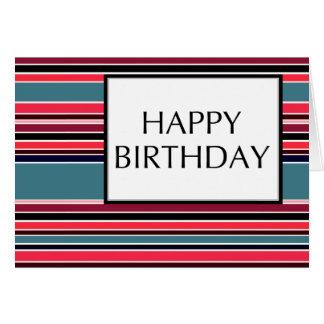 gelukkige verjaardag (wineStripes) Notitiekaart