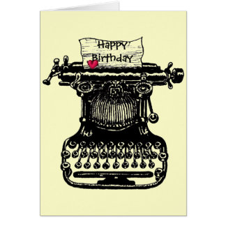 Gelukkige vintage de schrijfmachinetekening van de kaart
