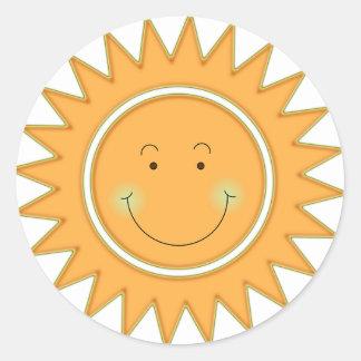 Gelukkige Zon oranje Smiley Ronde Sticker
