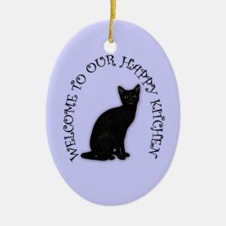 Gelukkige Zwarte Kat 2 het Hangende Ornament van