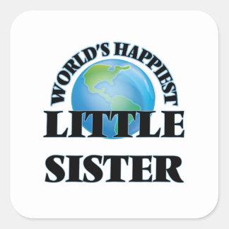 Gelukkigste wereld Weinig Zuster Vierkant Stickers