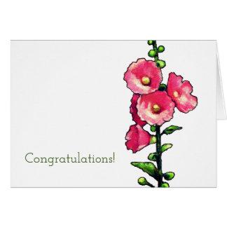 Gelukwensen, de Roze Bloemen van de Stokroos, Art. Wenskaart