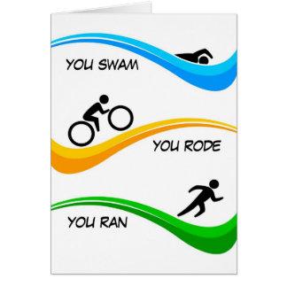 Gelukwensen voor het beëindigen van een Triathlon! Briefkaarten 0