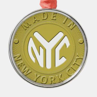 Gemaakt in New York Zilverkleurig Rond Ornament
