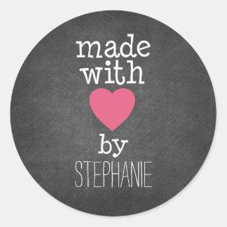 Gemaakt met Liefde door u - heet roze en bord Ronde Stickers