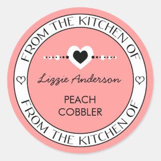 Gemaakt met Liefde van de Keuken van Etiket   Roze Ronde Stickers