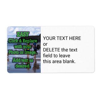 Gemakkelijk klik & vervang Afbeelding om Uw te Etiket