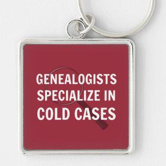 Genealogie (Rode) Keychain Zilverkleurige Vierkante Sleutelhanger