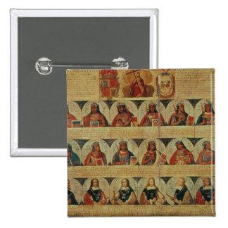 Genealogie van de heersers Inca en het hun Spaans Speld Button