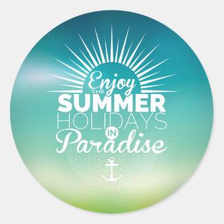 geniet van het paradijs van de de zomervakantie ronde stickers
