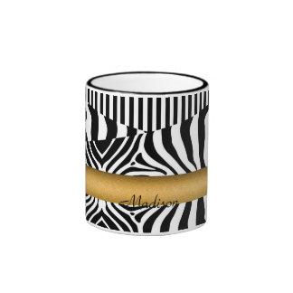 Genoemde Zebra en Strepen Mok Gekleurder Rand En Oor