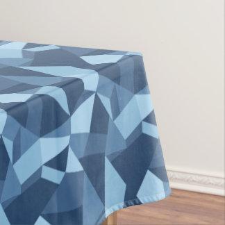 Geometrisch abstract gek gestemd lapwerkblauw tafelkleed