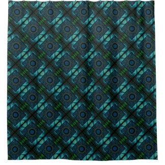 Geometrisch & Fractal Blauw & Groen Ontwerp Douchegordijn