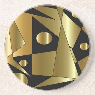 Geometrisch Goud op Zwart Onderzetter