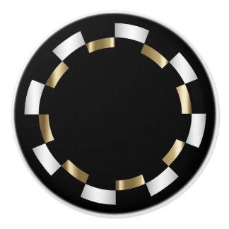 Geometrisch Patroon | Goud, Wit & Zwarte Keramische Knop