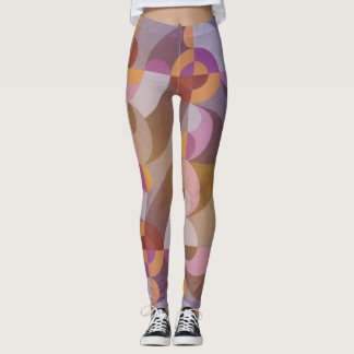 Geometrische abstracte retro cirkels in warme leggings