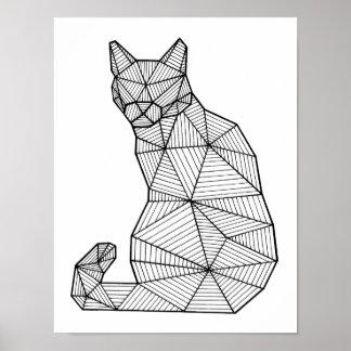 Geometrische Gezette Kat, Rug Poster