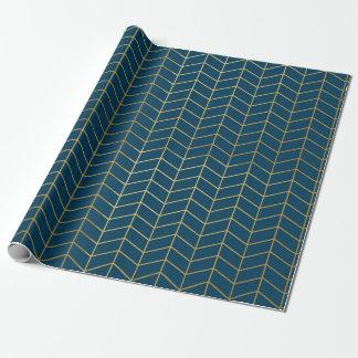 Geometrische Marine van de Folie van Faux van het Cadeaupapier