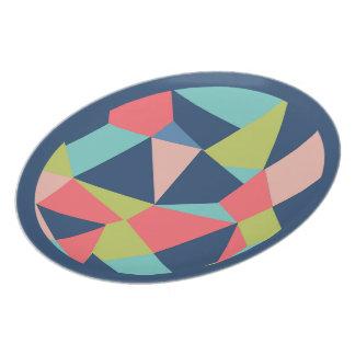 Geometrische vormen in blauw, zalm en groen melamine+bord