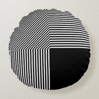 Geometrische zwart-witte abstractie, rond kussen