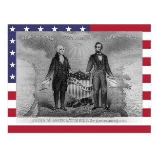 George Washington Abraham Lincoln de V.S. Briefkaart