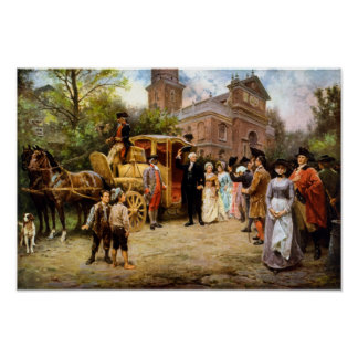 George Washington die bij de Kerk van Christus Poster