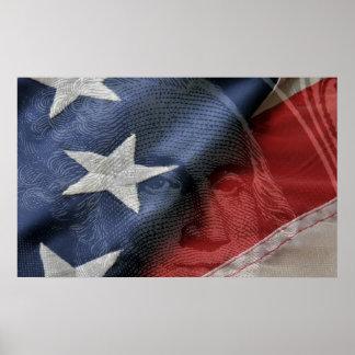 George Washington en vlag samengesteld Poster