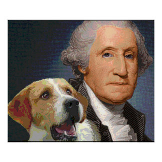 """George Washington en zijn hond de """"Schoonheid van  Poster"""