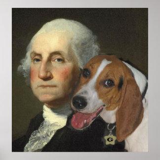 George Washington en zijn Jachthond Poster