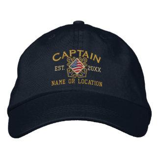 Gepersonaliseerd Amerikaanse Kapitein Nautical Geborduurde Pet