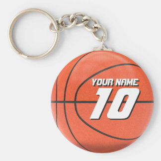 Gepersonaliseerd Basketbal Basic Ronde Button Sleutelhanger