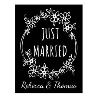 Gepersonaliseerd enkel Gehuwd Zwart Huwelijk Briefkaart