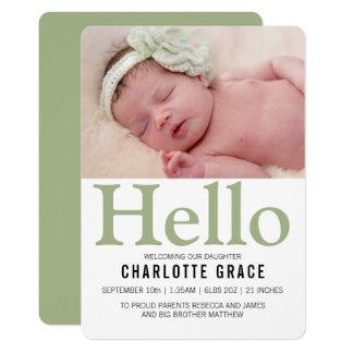 Gepersonaliseerd Groen van het Baby van Hello Kaart