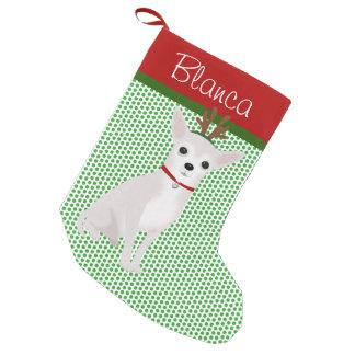 Gepersonaliseerd heel Elf Witte Chihuahua Kleine Kerstsok
