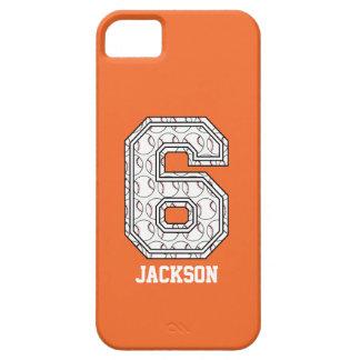 Gepersonaliseerd Honkbal Nummer 6 Barely There iPhone 5 Hoesje