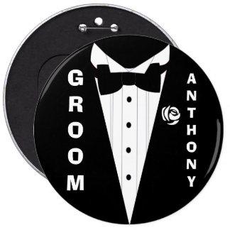 Gepersonaliseerd huwelijkskostuum ronde button 6,0 cm