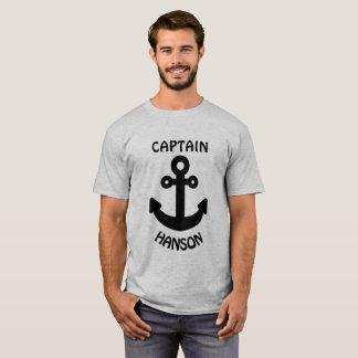 Gepersonaliseerd Kapitein Black Anchor T Shirt
