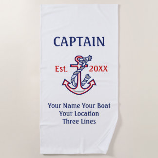 Gepersonaliseerd Kapitein First Mate Skipper Gear Strandlaken