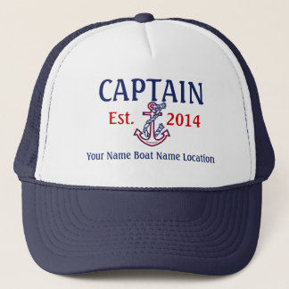 Gepersonaliseerd Kapitein Hat Year Name Location Trucker Pet