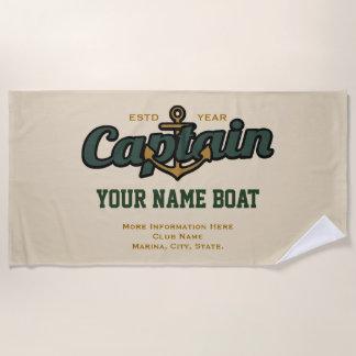 Gepersonaliseerd Kapitein Name Boat Year en meer Strandlaken