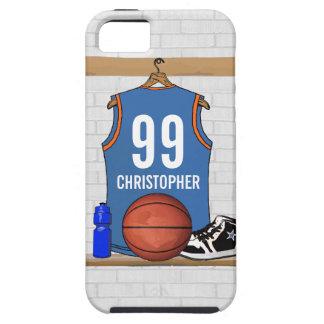 Gepersonaliseerd Lichtblauw Oranje Basketbal Tough iPhone 5 Hoesje