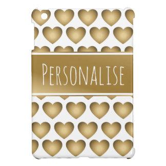 gepersonaliseerd metaal gouden harten ipad hoesje voor iPad mini
