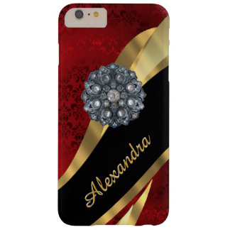 Gepersonaliseerd mooie elegant rood damastpatroon barely there iPhone 6 plus hoesje