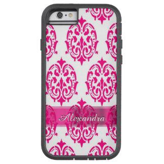 Gepersonaliseerd mooie heet roze en wit damast tough xtreme iPhone 6 hoesje
